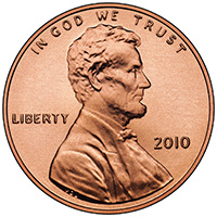 2010 Lincoln One-Cent Obverse