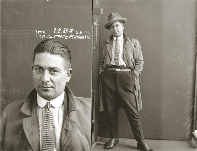Mug shot of Guiseppe Fiori, alias Permontto, 5 August 1924. Location unknown., 1924